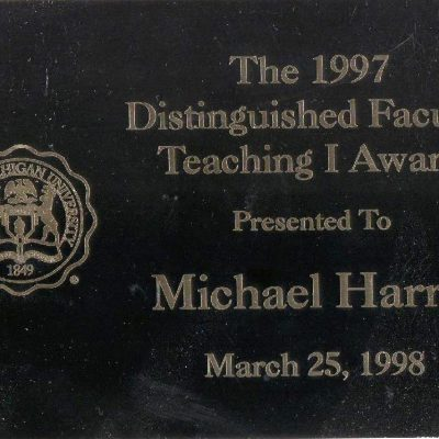 Michael Harris PhD, Eastern Michigan University, EMU, Distinguished Teaching I Award, 1997