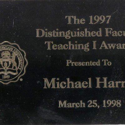 Michael Harris PhD, Eastern Michigan University, EMU, Distinguished Teaching I Award, 1997
